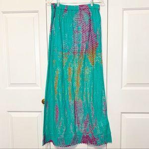• Roxy Turquoise Maxi Skirt w/ Lace Hem •